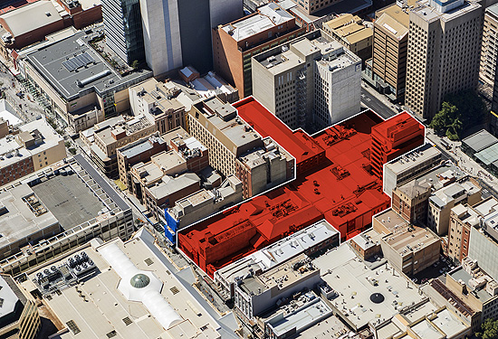 City Cross and 32 Grenfell St sit on a huge 6779sqm site.