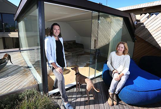 Nancy and Wayne Joffee in their high-end property in Watsons Bay, Sydney. Picture: John Feder