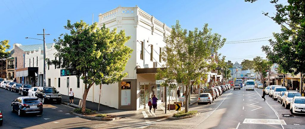 A retail strip on Darling St in Balmain is up for auction.