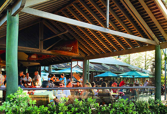 The Beach Hotel in Byron Bay features extensive outdoor dining.
