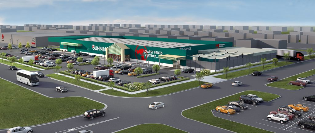 An artist's impression of the new Bunnings Warehouse at Yarrawonga in Victoria.