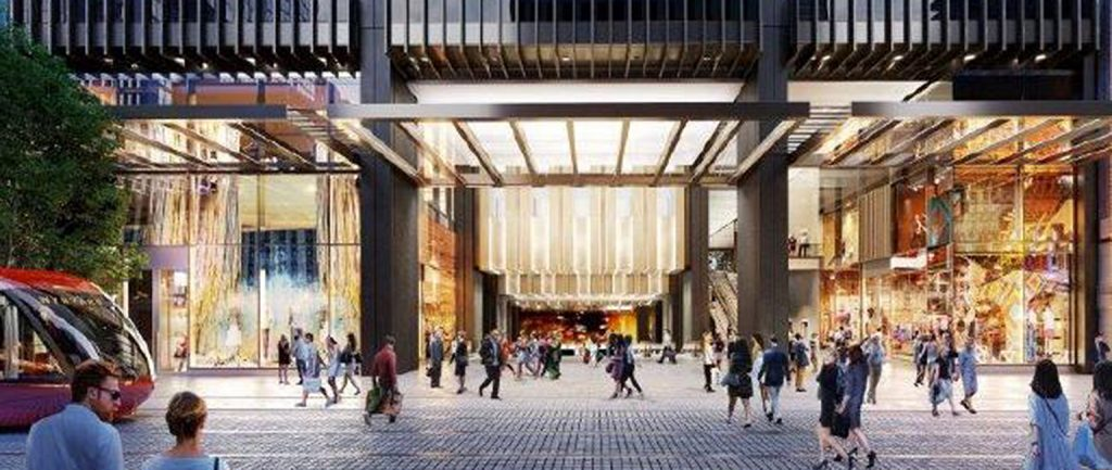 An artist's impression of Brookfield's plan to transform the Wynyard Station entrance in Sydney.