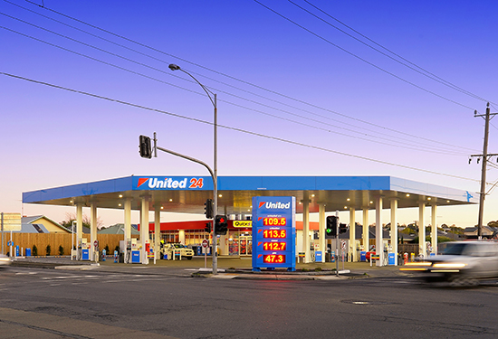 The United petrol station in Geelong is one of six to be auctioned next month.