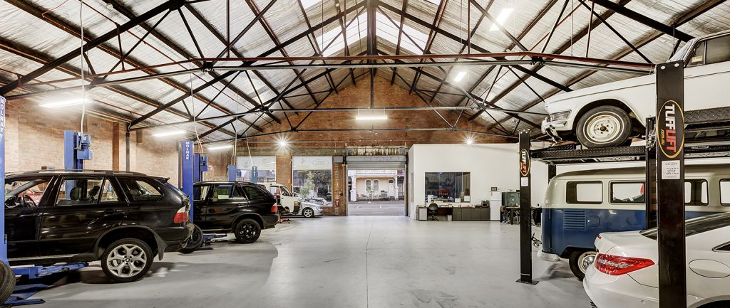 The interior of the former tram car shed in North Melbourne.