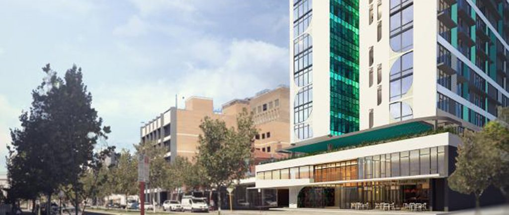An artist's impression of a student accommodation tower in Perth.