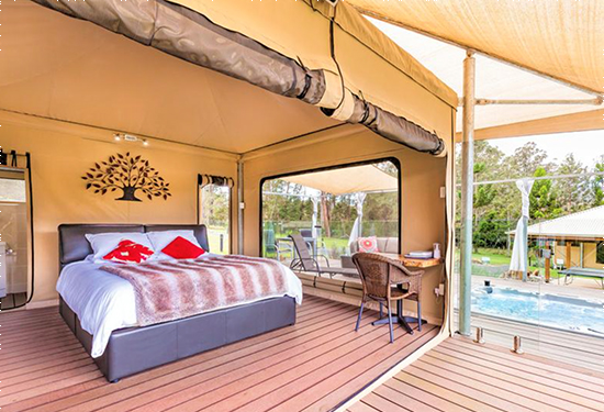 The eco-tourist resort features luxury tents.