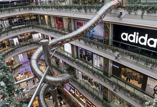 The fastest route from the top of the shopping centre to the bottom.