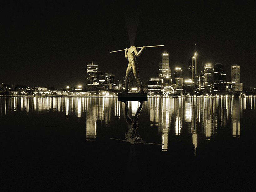 A headless statue of the aboriginal warrior Yagan was one idea floated for Perth's waterfront. Picture: Take me to the River: The story of Perth's Foreshore
