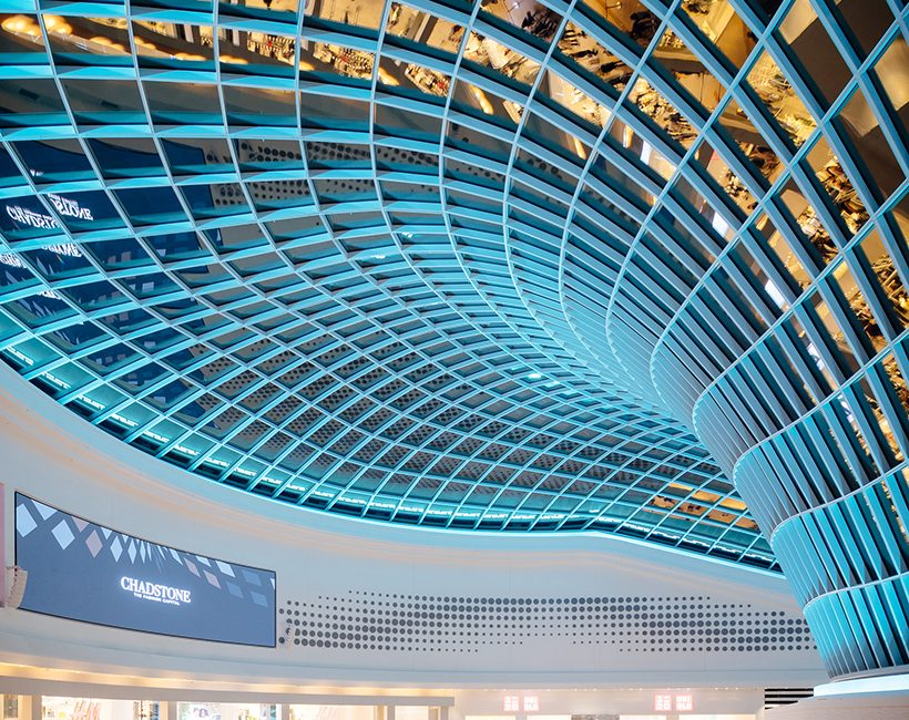 The stunning roof design at Chadstone, featuring 2700 pieces of glass and 600 lights. Picture: Jackie Chan