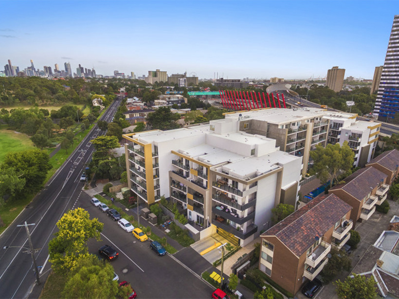 The EVO Apartments development in Parkville is on the market.