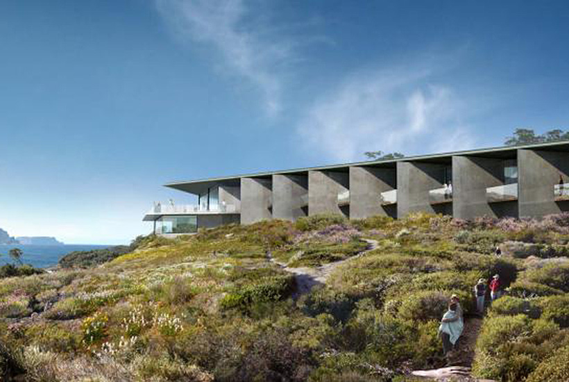 An artist's impression of the lodge planned for the Tasman Peninsula.