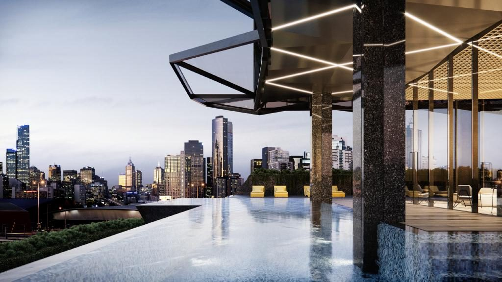 The infinity-edge cantilevered pool at the Normanby Melbourne development will give residents and AC Hotel guests an impressive view to Melbourne's CBD.