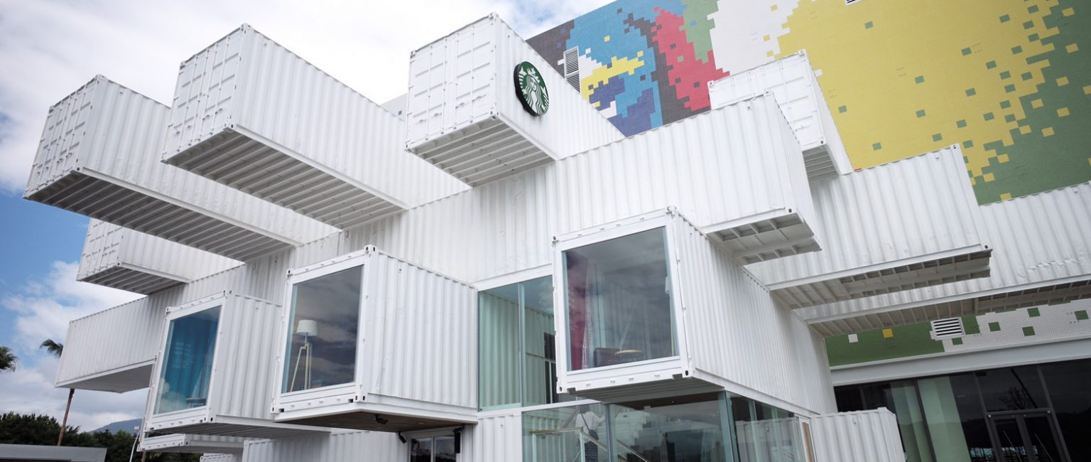 Japanese architect Kengo Kuma stacked 29 recycled shipping containers to make Starbuck's latest cafe in Taiwan. Picture supplied