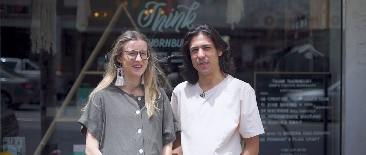 Maggie May and Josh Kelly outside their business Think Thornbury