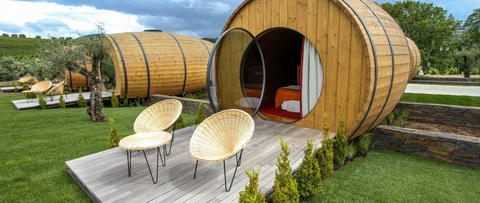 Enjoy a glass of wine from your wine barrel balcony. Picture: Quinta da Pacheca Estate