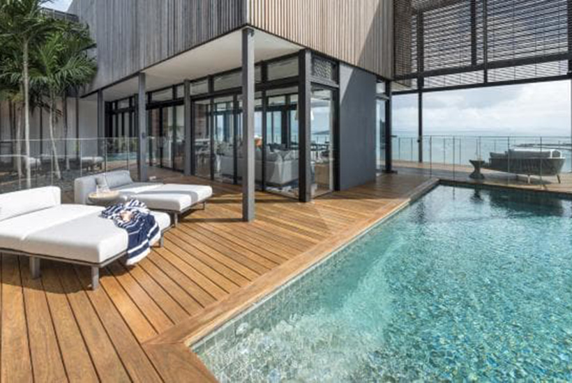 The luxury villas come with extensive outdoor decks.