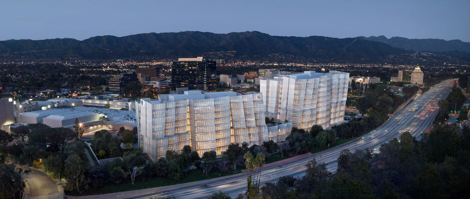 "Renowned architect Frank Gehry designed the towers to resemble ""icebergs floating along the freeway"". Picture: Gehry Partners/Rendering by Sora"