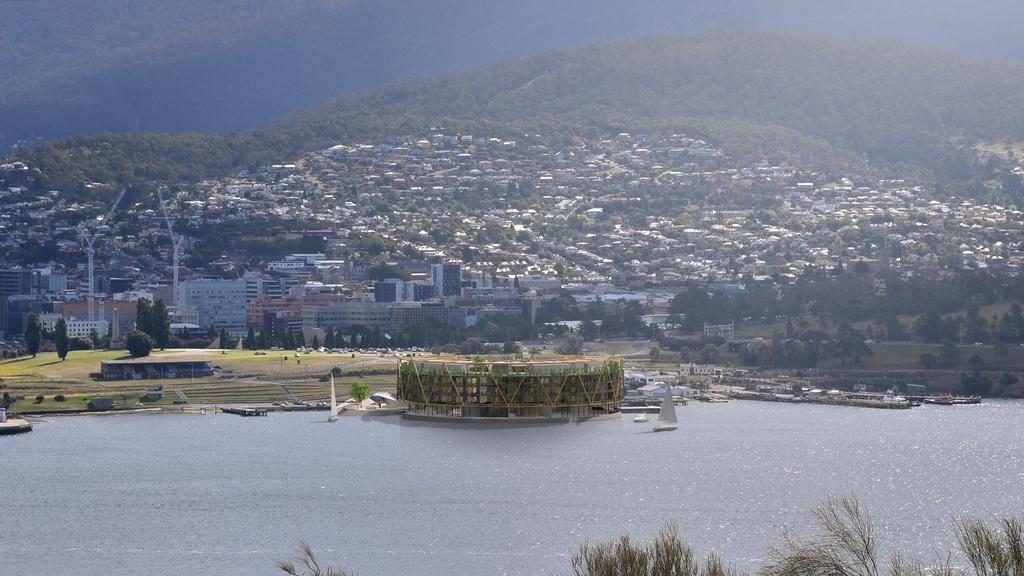 An artist's impression of the floating hotel in front of the Hobart Regatta Grounds. Picture: SUPPLIED