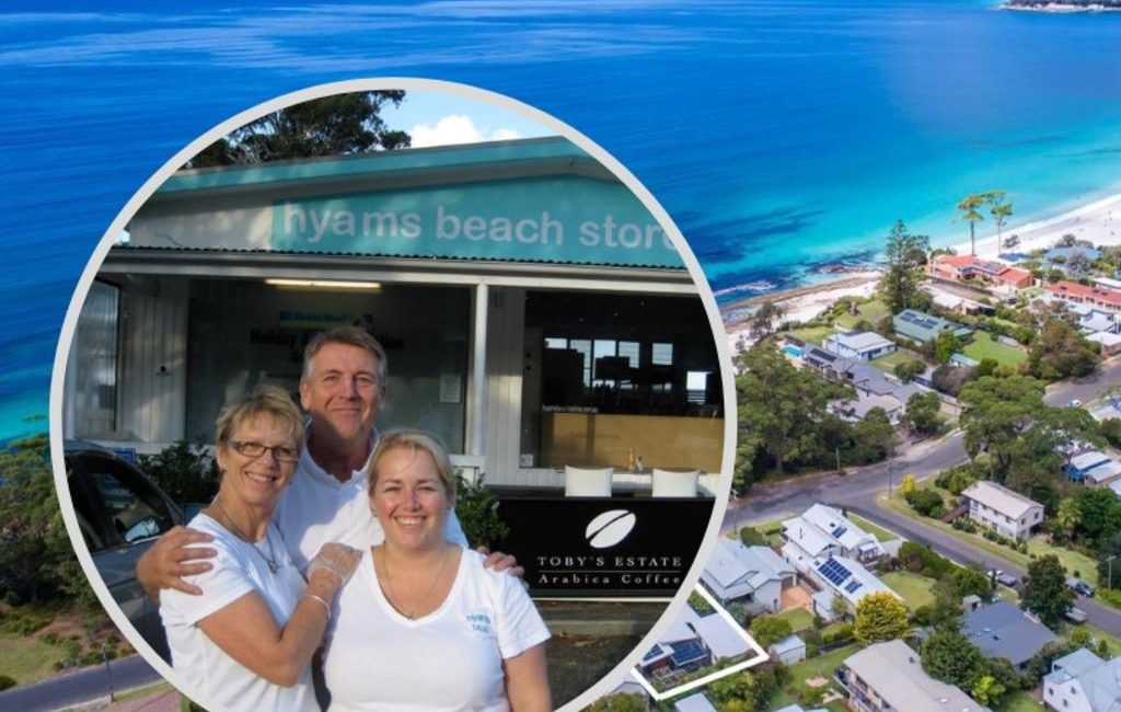 The Alison family outside Hyams Beach Store and Cafe and an aerial view of the village.