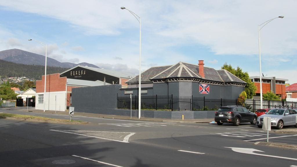 The current look of 1 Burnett Street, North Hobart, the former clubhouse of the Rebels bikie gang. SUPPLIED