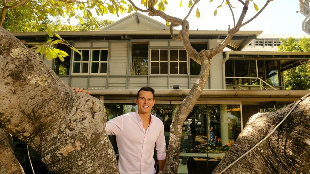 Real Estate Agent Seth Chin is brokering the sale of a slice of Top End History as the Old Admiralty House on The Esplanade goes up for sale with a long term leasee in the Iconic Char Restaurant as an ongoing tennant. Picture: GLENN CAMPBELL