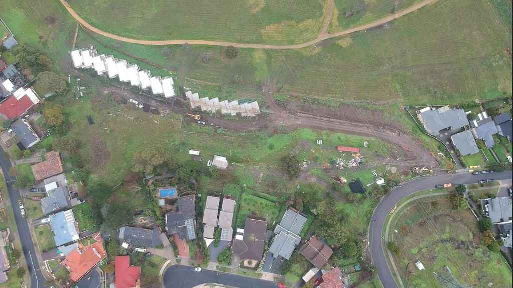 The allotment is so big it continues on the other side of a bend in Augustine Tce.