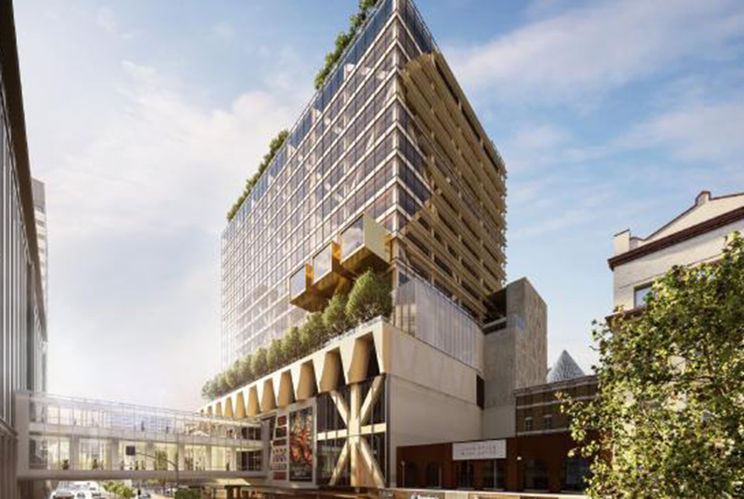 An artist's impression of the planned 10-level Frame office tower at Melbourne Central.