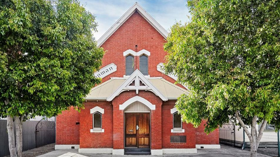 The church at 80 Ross St in Port Melbourne.
