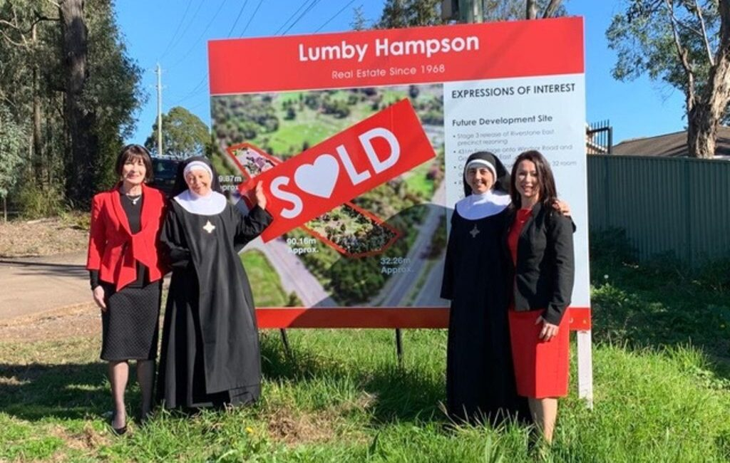 Sold – Jan Lumby, Mother Marie Pierre, Mother Columba and Kate Lumby, outside 325 Garfield Rd, East Riverstone.