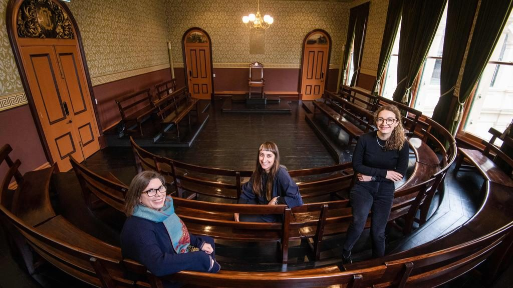 Lovell Chen architects Anne-Marie Treweeke, Suzanne Zahra and Libby Blamey painstakingly restored the Trades Hall's Old Council Chamber — which is set to be opened for virtual tours as part of this year's Open House Melbourne. Picture: Jason Edwards