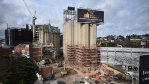 Silos next to Melbourne's Nylex Clock face 'The Punisher'