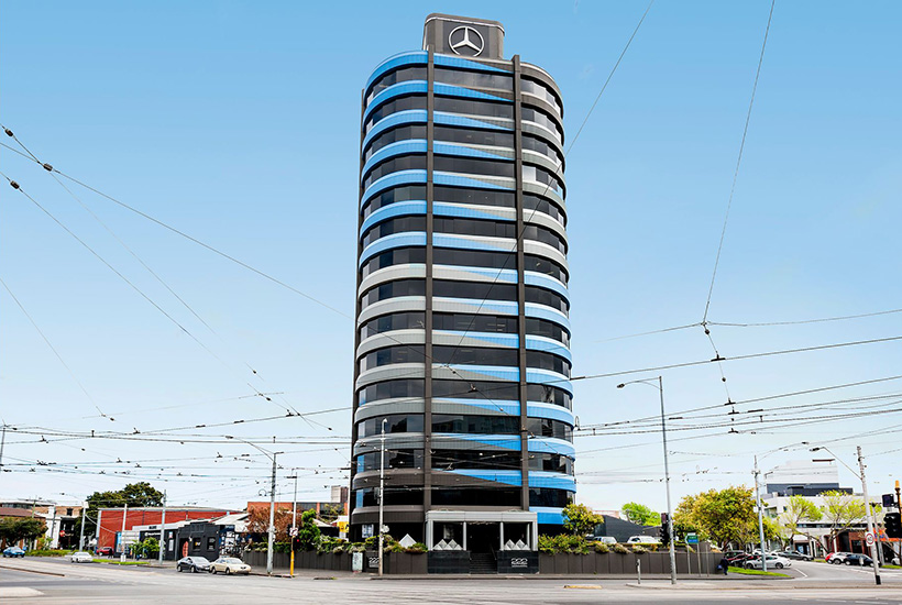 The signage space atop 222 Kings Way in South Melbourne is available for lease.