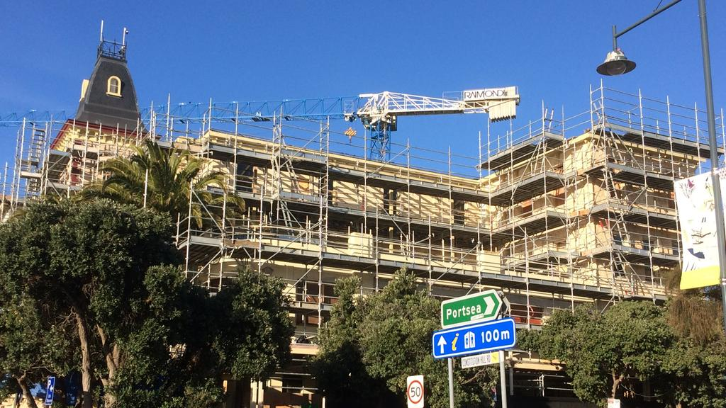 Work has halted on the redevelopment of Sorrento's iconic Continental Hotel. Picture: Christian Tatman
