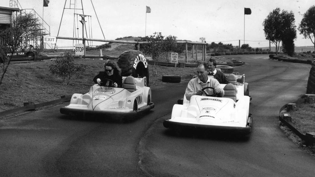 People riding go-karts at Puzzle Park at Murray Bridge. Date unknown.