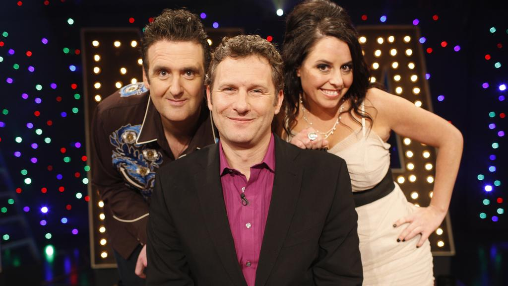 TV: Spicks and Specks finale. 2011. ABC. Alan Brough, Adam Hills and Myf Warhurst.