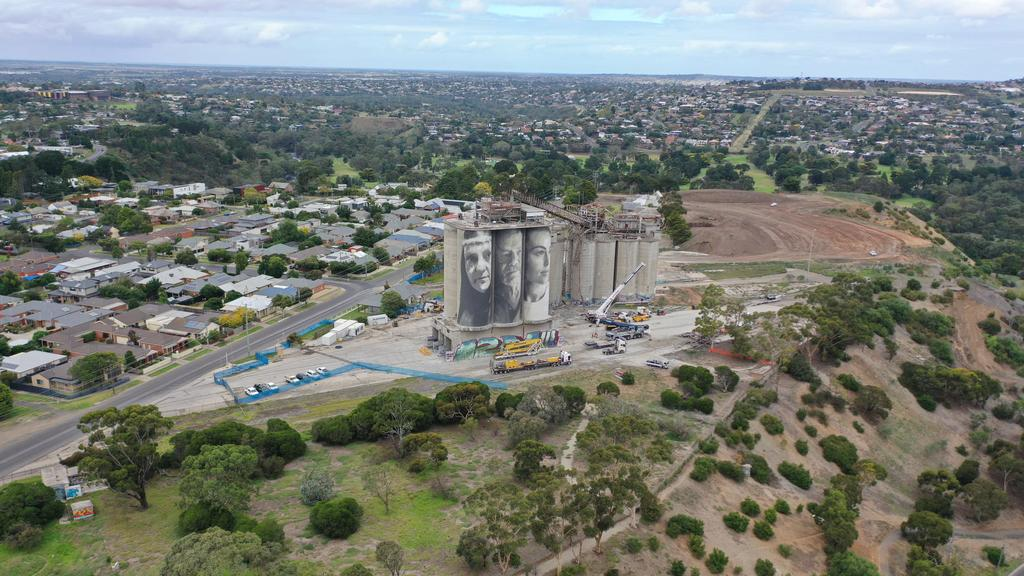 Cement works silos being demolished