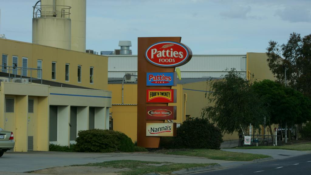 Patties Pies. Patties Foods factory and sign at Bairnsdale.